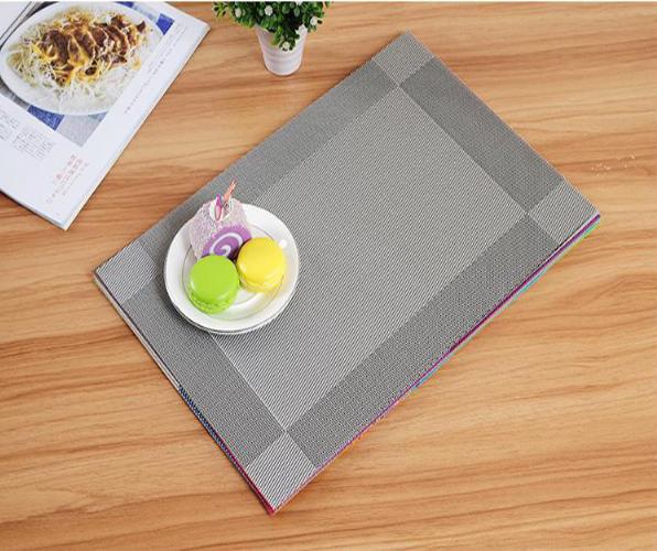 Combo 6 tấm lót bàn ăn placemat màu xám bạc kích thước 30x45cm