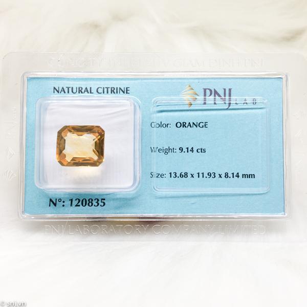 Viên citrine thạch anh vàng chữ nhật giác lưới 9.14ct 120835