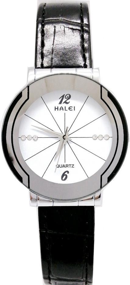 Đồng hồ Nam Halei - HL457 Dây da đen - Trắng