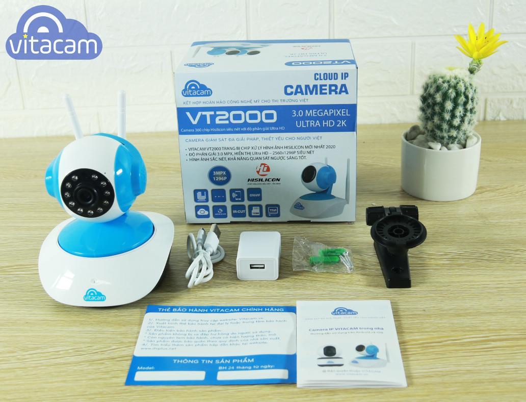 Camera IP Wifi VITACAM VT2000 ( 3.0MP ULtra HD 2K) - đàm thoại 2 chiều + Thẻ nhớ 32G - Hàng Chính Hãng