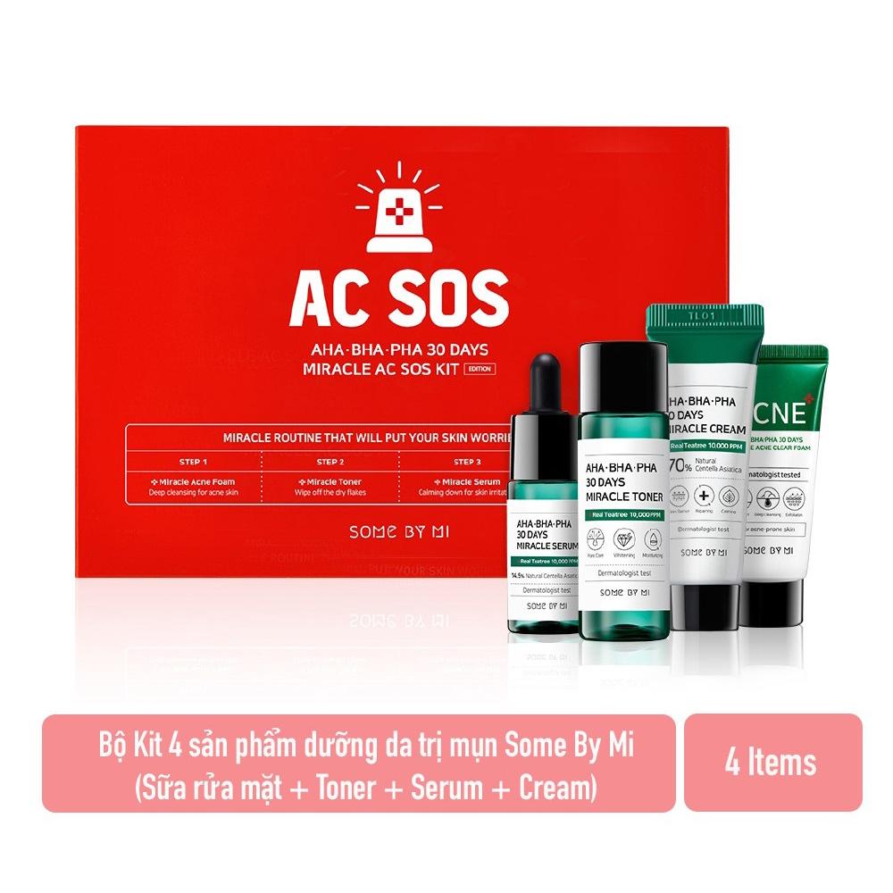 Set 4 Món Dưỡng Da hỗ trợ Trị Mụn SOME BY MI AC SOS Kit AHA-BHA-PHA (Miracle Acne Clear Foam 30ml - Miracle Toner 30ml - Miracle Serum 10ml - Miracle Cream 20g)