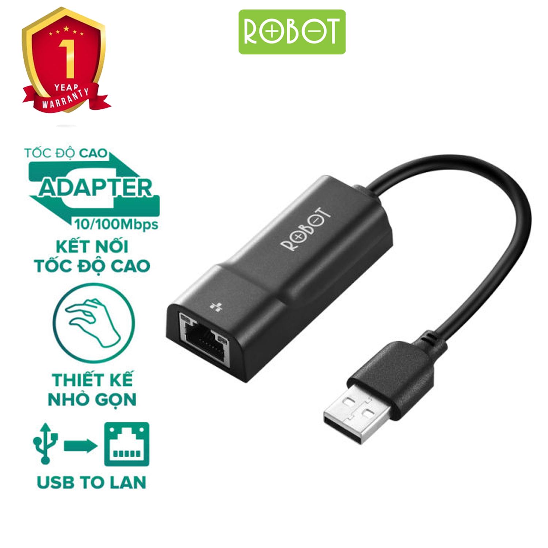 Thiết Bị Chuyển Đổi Ethernet Adapter ROBOT EA10 USB 2.0 To LAN Tốc Độ 10/100Mbps - Hàng Chính Hãng