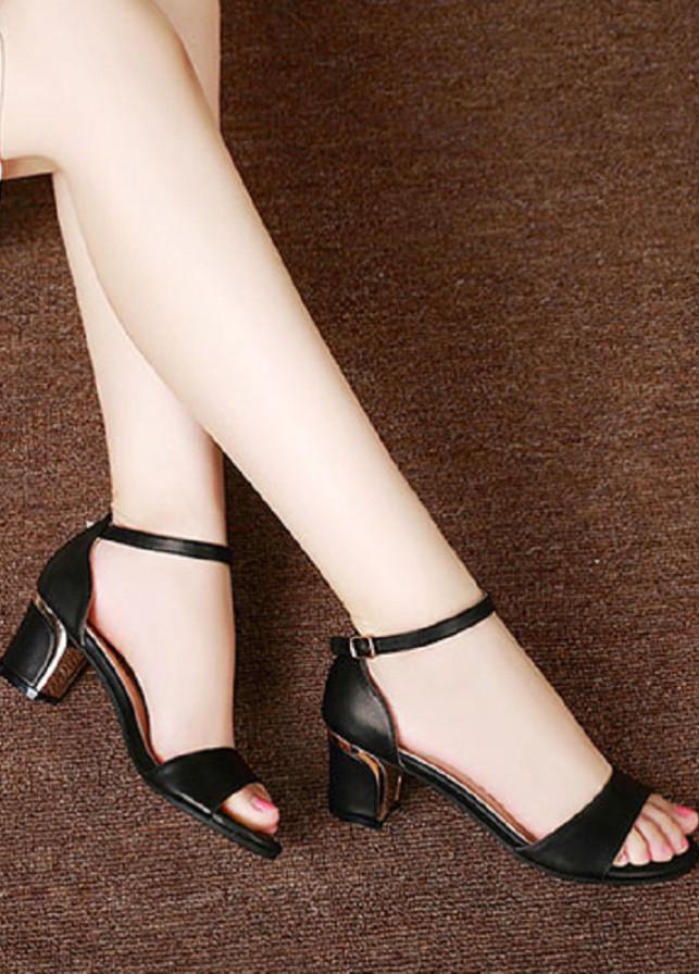 Giày cao gót quai ngang da thật H.Q- G69 - đen - 37