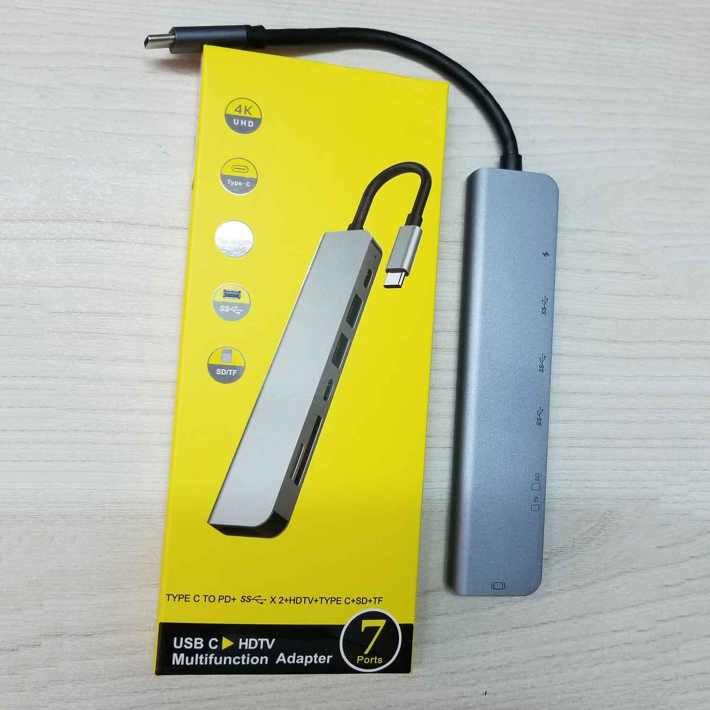 Hub USB Type-C 7in1 Cổng HDMI 4K 60Hz/  USB 3.0/ SD/ TF/ PD 50538 - 7in1-1 60Hz