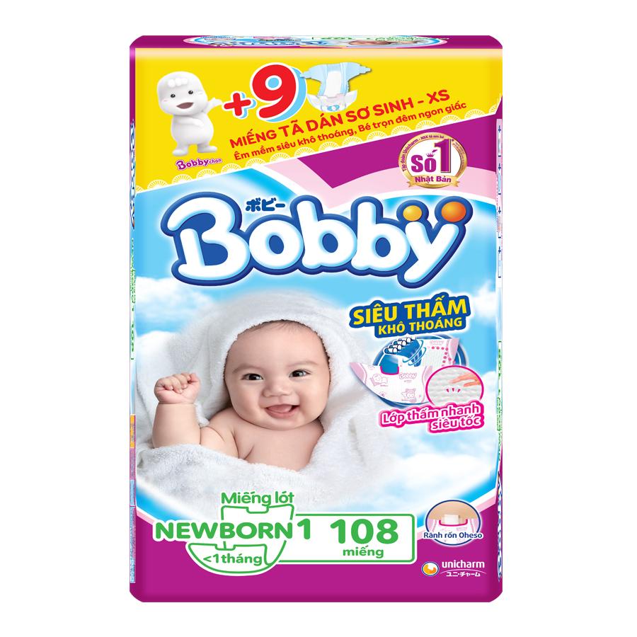 Miếng Lót Sơ Sinh Bobby Fresh NB1 - 108 (108 Miếng Newborn) + 9 Miếng Tã Dán Sơ Sinh - XS