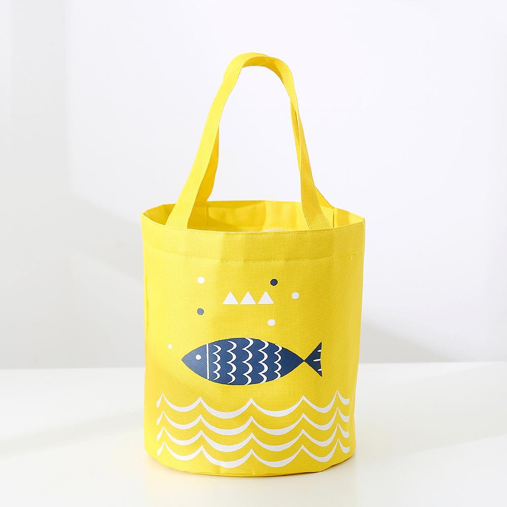 Túi đựng cơm giữ nhiệt Fishes hình trụ tròn dây rút 21x19cm