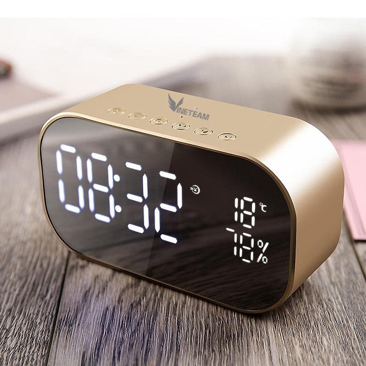 Loa Bluetooth tích hợp đồng hồ báo thức, đo nhiệt độ, gương soi VINETTEAM S2 chất lượng âm bass trầm vòm 6D cực chất, nhỏ gọncắm được thẻ nhớ - Hàng chính hãng