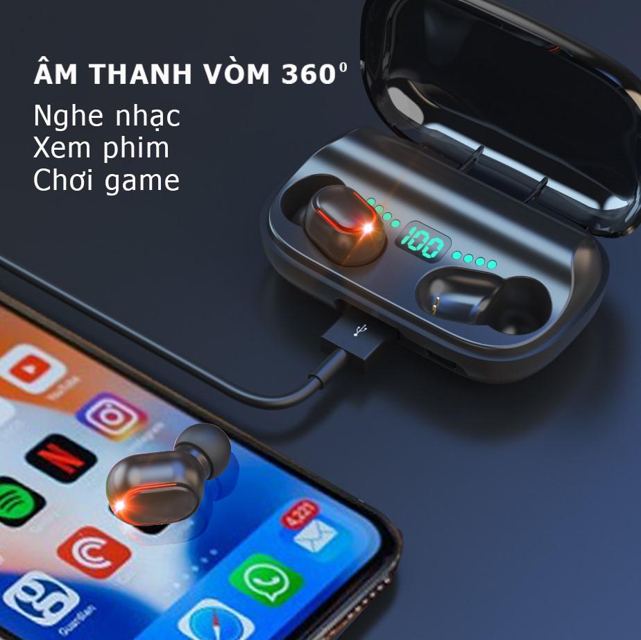 Tai nghe Bluetooth không dây T11, âm thanh vòm 8D, màn hiển thị led, Bluetooth 5.0, tự động kết nối cho lần tiếp theo, thiết kế sang trong và nhỏ gọn phù hợp cho người á châu-hàng nhập khẩu