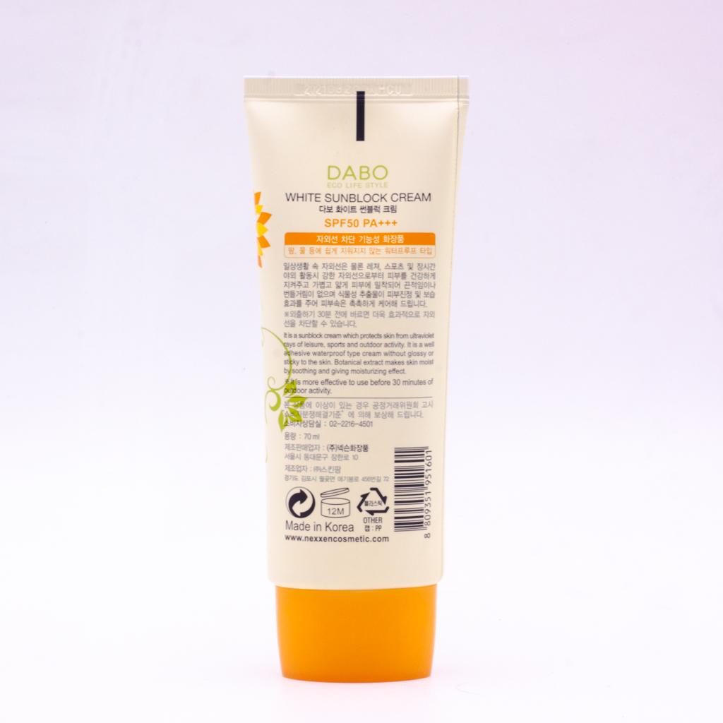 Kem chống nắng Hàn Quốc cao cấp Dabo White Sunblock Cream SPF 50 PA+++ (70ml)