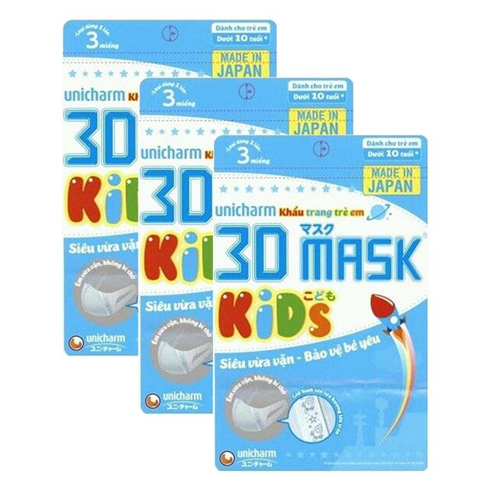 Bộ 3 Gói Khẩu Trang Trẻ Em Unicharm 3D Mask Kids (3 Cái / Gói)