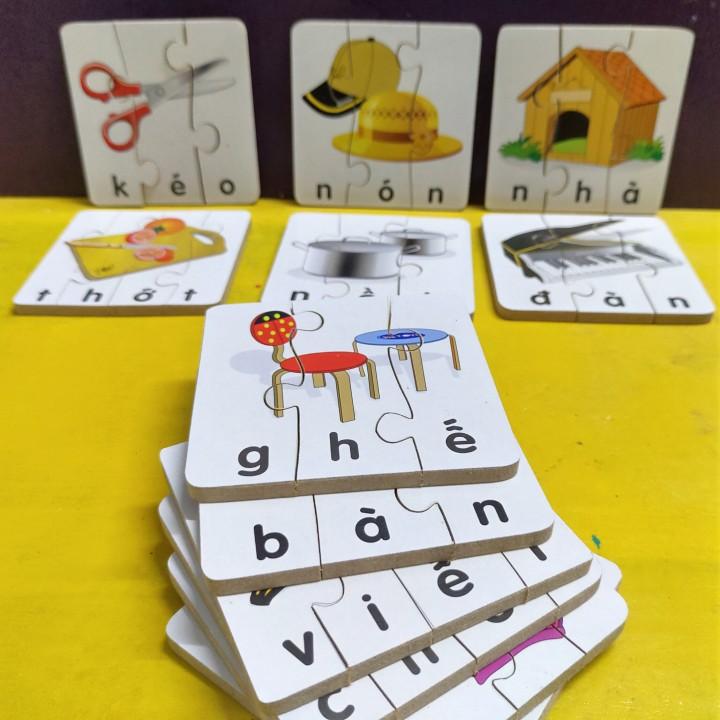 Xếp hình đơn giản cho bé 2 tuổi, ghép puzzle 3-4 mảnh, ghép hình học chữ Tiếng Việt
