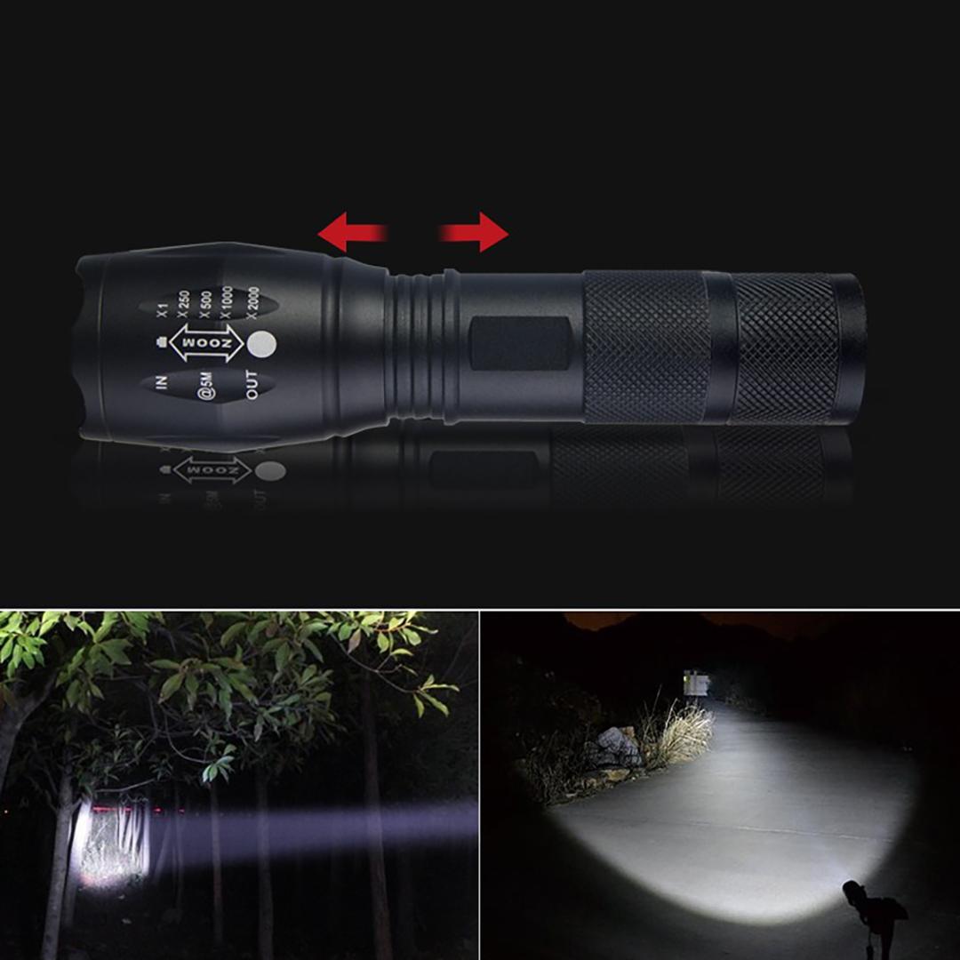 Đèn pin led siêu sáng chiếu xa tự vệ Xinsite mẫu T6 điều chỉnh được 5 chế độ chiếu xa trăm mét tầm chiếu sáng và chống nước