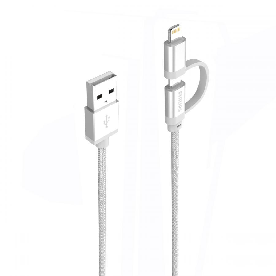 Cáp sạc USB type C tích hợp đầu chuyển đổi Linghtning Philips DLC4541VB  - Hàng Chính Hãng