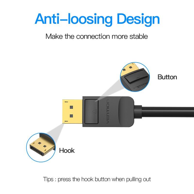 Dây cáp chuyển đổi Displayport DP to HDMI Vention, dài 1.5M - Hỗ trợ: Độ phân giải 4K@60Hz - Hàng chính hãng