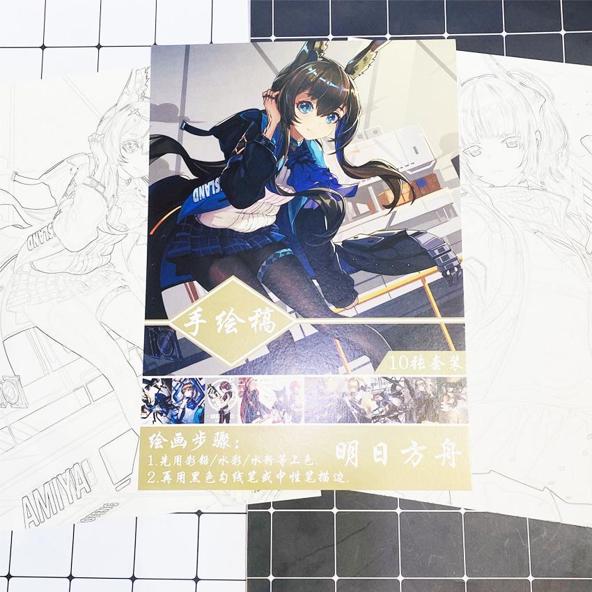 Tranh tô màu Arknights tập bản thảo phác họa anime manga chibi