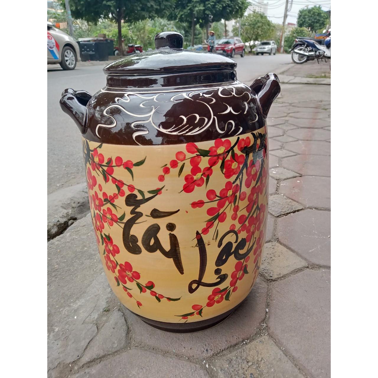 Hũ đựng rượu gạo tài lộc Bát Tràng loại 15L (10Kg gạo)
