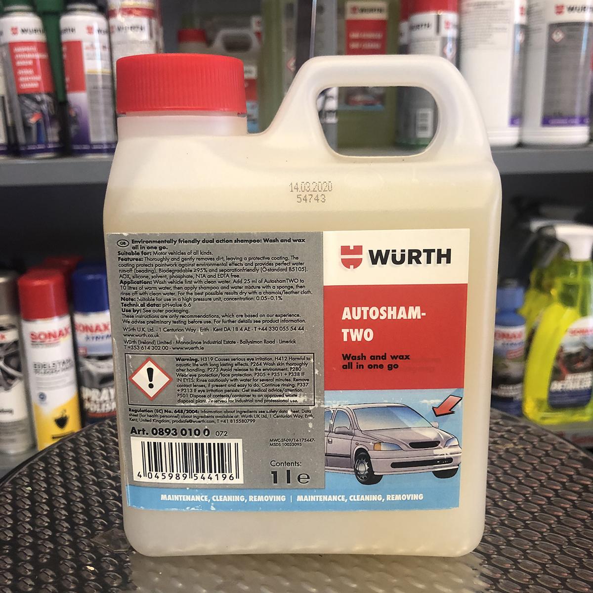 Nước rửa xe Wurth Autosham-Two 0893 0100 Wash and wax all in one go 1000ml