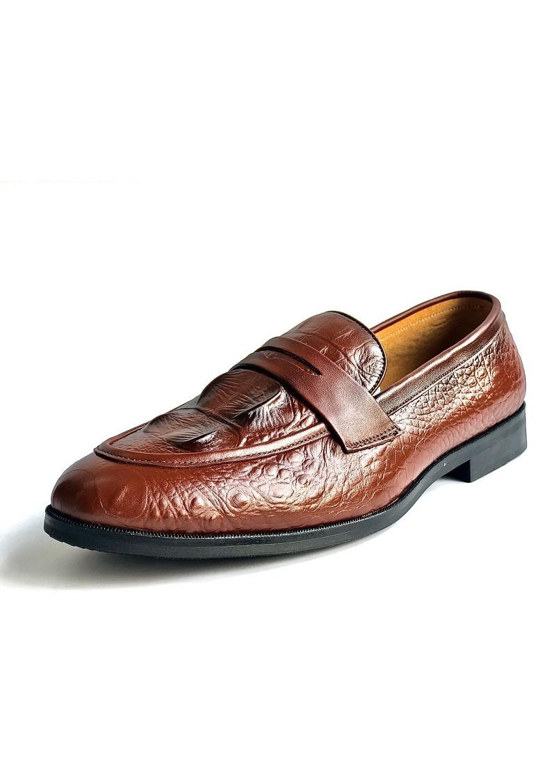 giày nam ba bò cao cấp thiết kế dập vân cá sấu - MN01