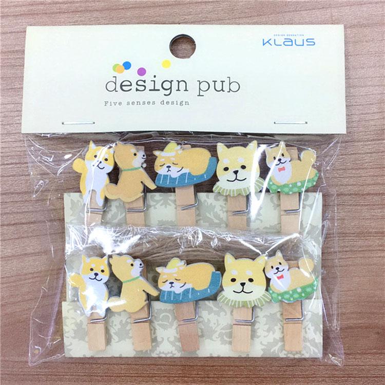 Set 10 Cái Kẹp Gỗ Sơn Design Pub hình Cún Vàng