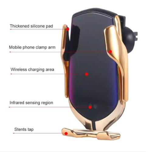 Giá Đỡ Kiêm Sạc Không Dây Cho Điện Thoại Trên Ô Tô Smart Sensor R1 Thông Minh