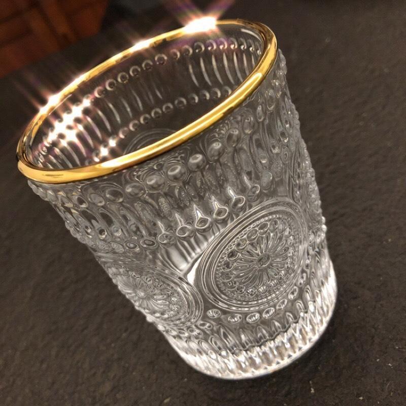 Bộ 6 cốc thủy tinh chịu nhiệt cao cấp hoa văn tròn trắng viền vàng - ANTH346