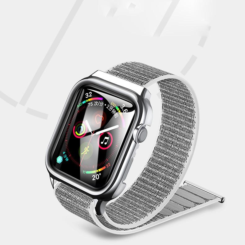Dây vải đeo thay thế kèm khung viền bảo vệcao cấpcho Apple Watch 44mmhiệu Usams US-ZB073 (thiết kế tinh tế, lực hút nam châm mạnh mẽ, lịch lãm sang trọng) - Hàng nhập khẩu