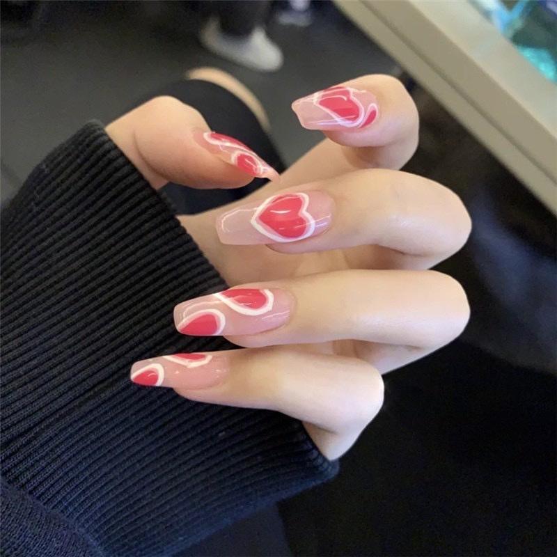 Set 24 móng tay giả , nail giả khuôn dài họa tiết 3D sành điệu