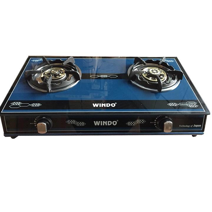 Bếp Gas Đôi mặt kiếng cao cấp Windo , điếu gan, chén đồng W8080 - Hàng Chính Hãng