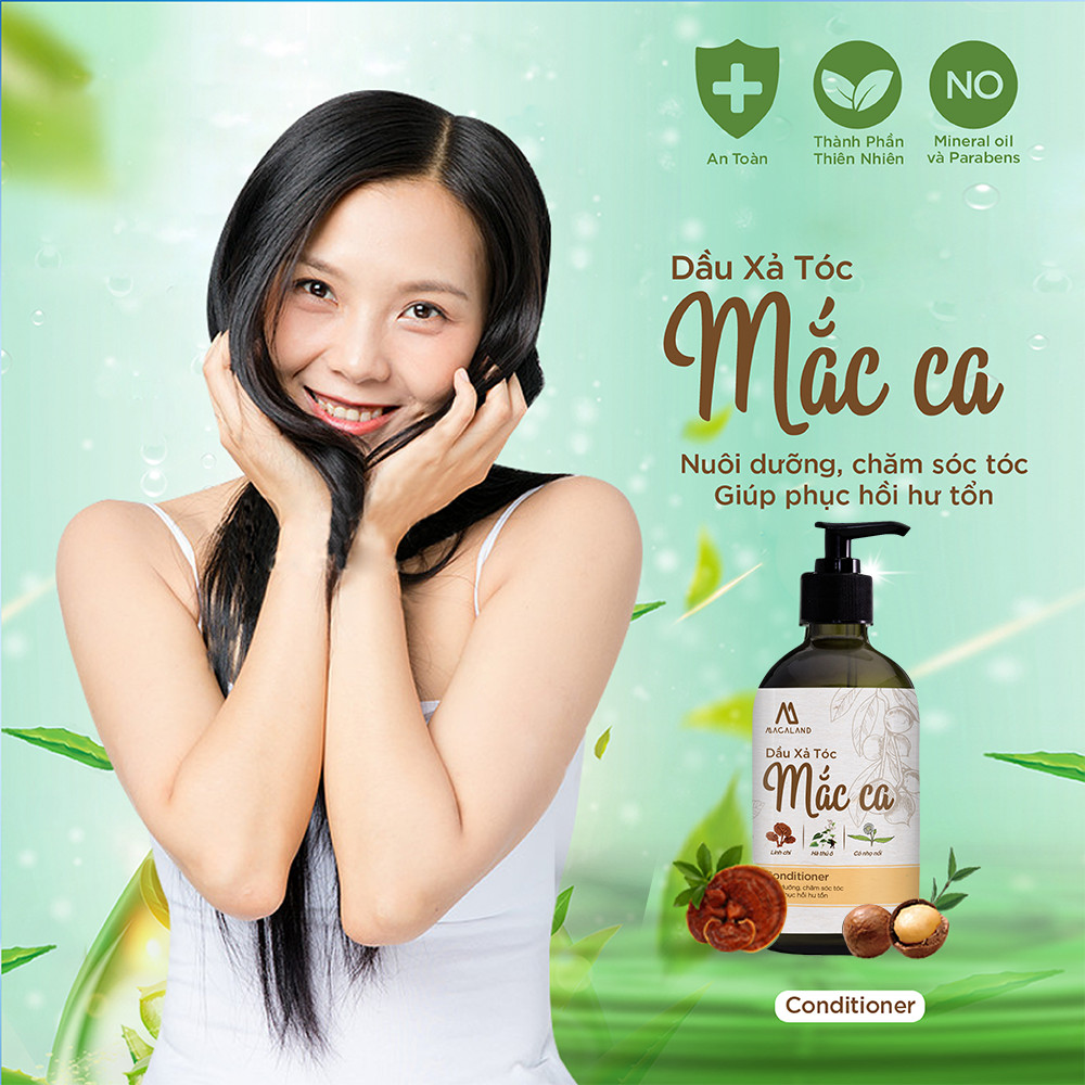 Dầu Xả tóc từ dầu Macadamia 300ml MACALAND nuôi dưỡng và phục hồi tóc, giảm tình trạng xơ rối, giúp tóc đen mượt óng ả (chính hãng)