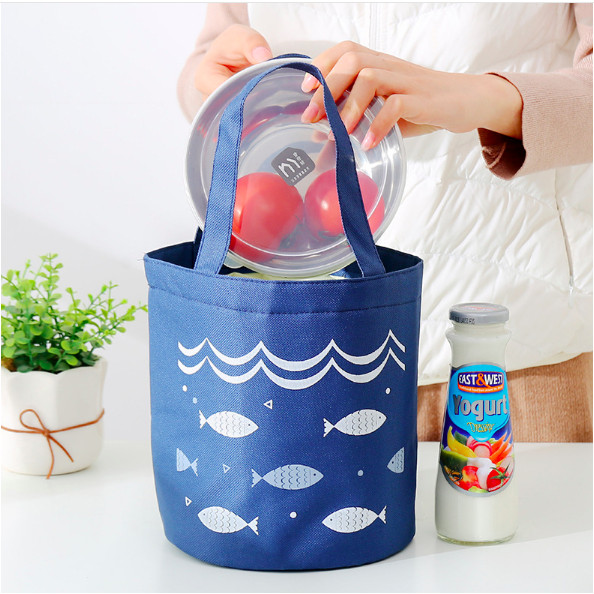 Túi đựng cơm tròn dây rút hình cá giữ nhiệt vải Oxford (size 18x17x25cm)
