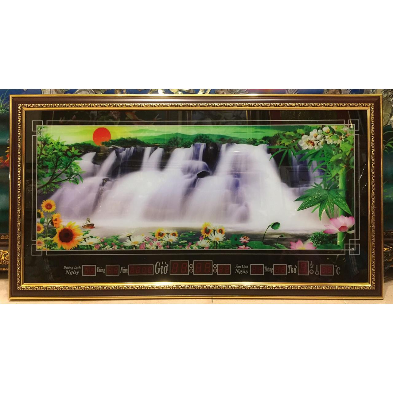 Tranh đồng hồ vạn niên,  phong cảnh thác nước -537