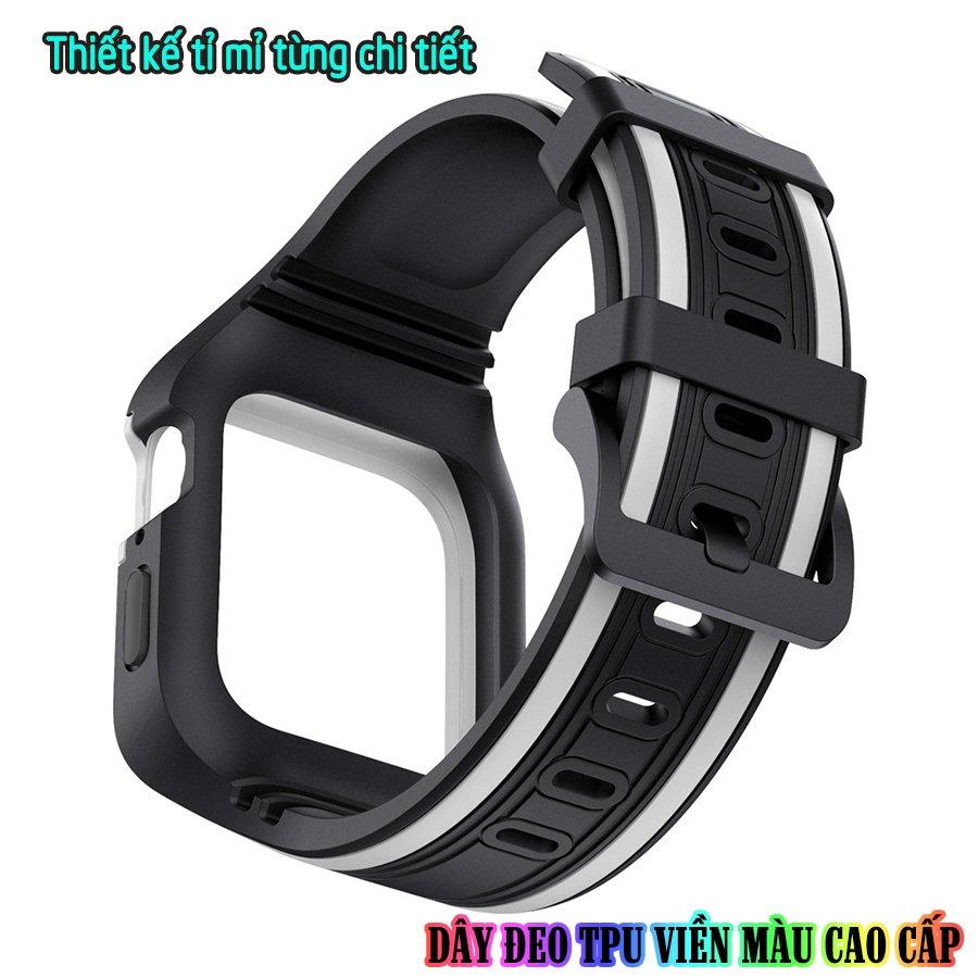 Dây Đeo liền ốp dành cho Apple Watch size 38/40/42/44mm TPU chống sốc viền màu_Đen Trắng (tặng dán KCL theo size)