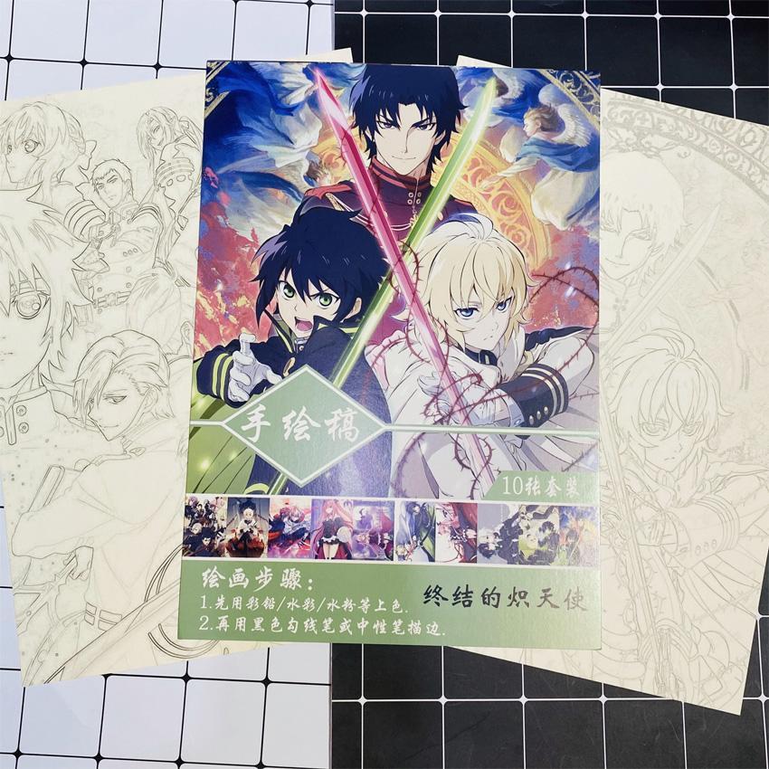 Tranh tô màu Owari No Seraph Thiên thần diệt thế tập bản thảo phác họa anime manga chibi