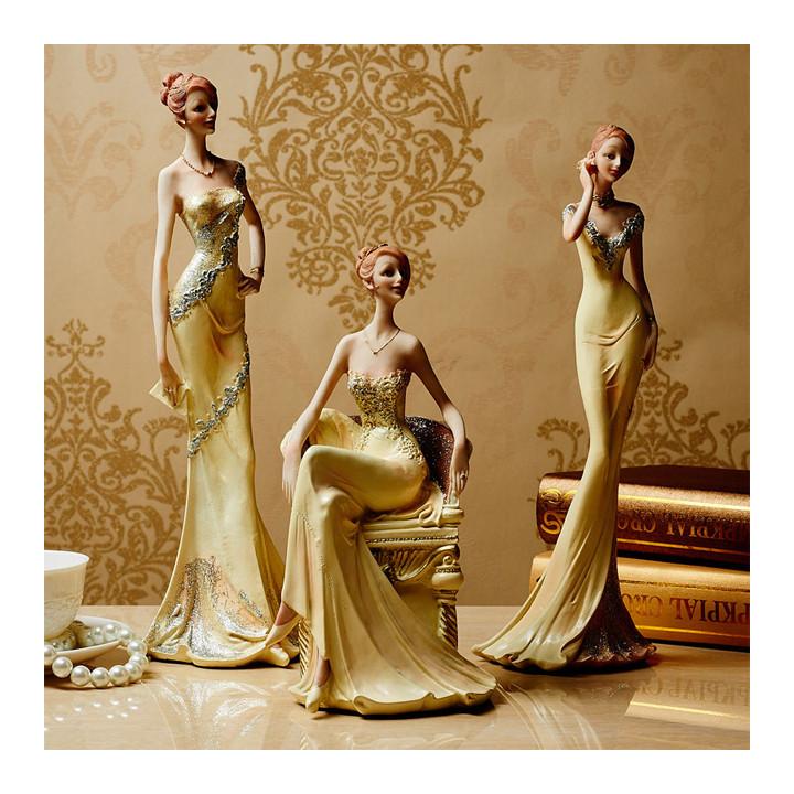 Decor Trang Trí Để Bàn - Tượng Cô Gái Mặc Váy Dạ Hội DH-DCB064