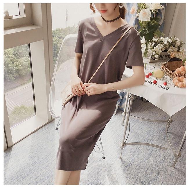 Đầm bầu cotton xuông giản dị DR2527