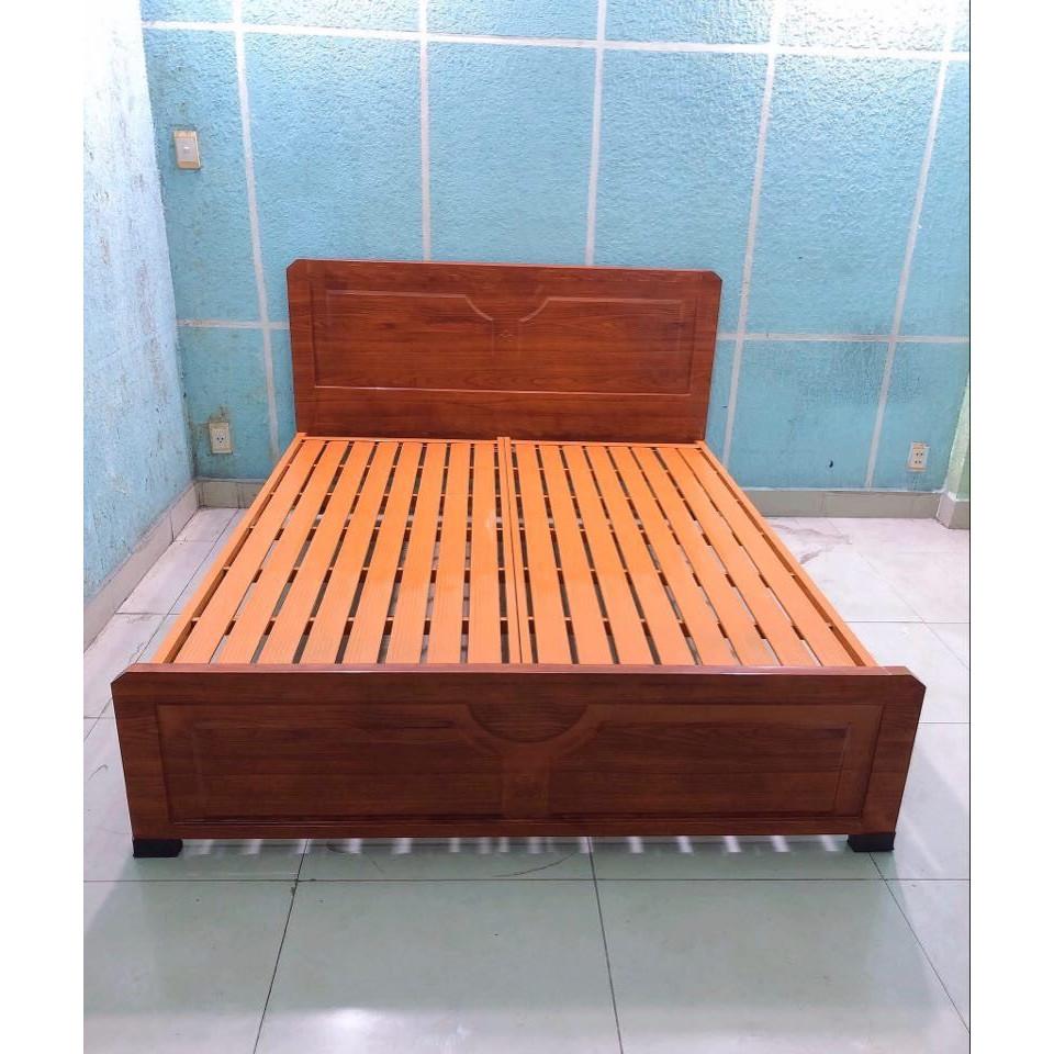 Giường sắt kiểu gỗ xuất khẩu ngang 1m6 dài 2m