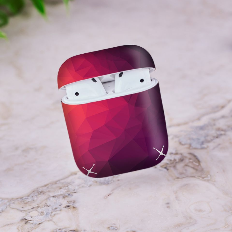 Miếng dán skin chống bẩn cho tai nghe AirPods in hình Vân kim cương - BG0003 (bản không dây 1 và 2)