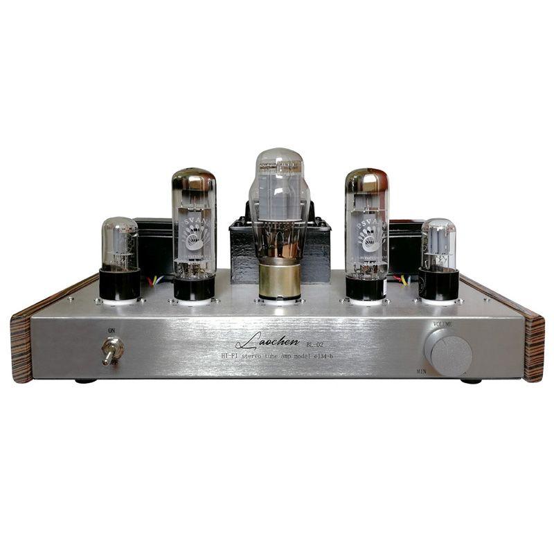 Bộ khuếch đại âm thanh Ampli Oldchen EL34-b BL-02 màu bạc 2 bên sườn gỗ 5 bóng