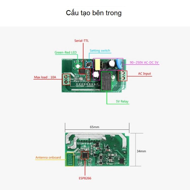 Công tắc ĐKTX Wifi 10A V2 TY-TDQ ( Bật tắt thiết bị điện ở nhà dù bạn ở bất kì đâu )