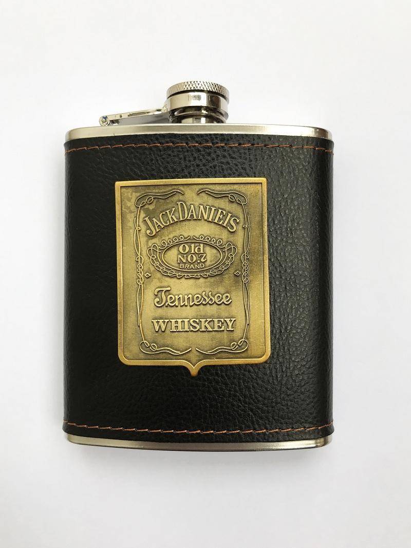 Bình đựng rượu mini inox 7oz bọc da đen Jack Daniels(210ml)