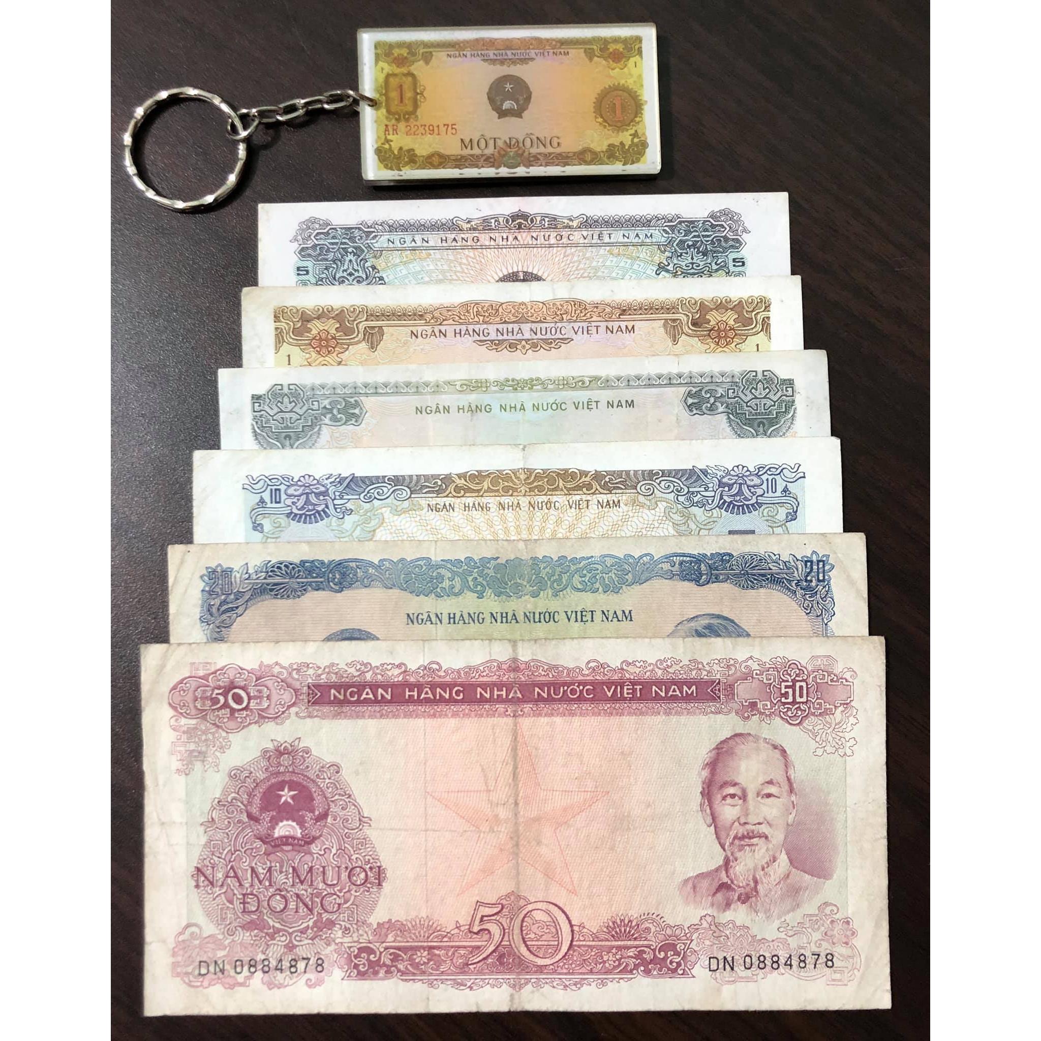 Bộ tiền cổ Việt Nam 6 tờ năm 1976 (kèm móc chìa khóa hình tiền xưa lạ mắt)
