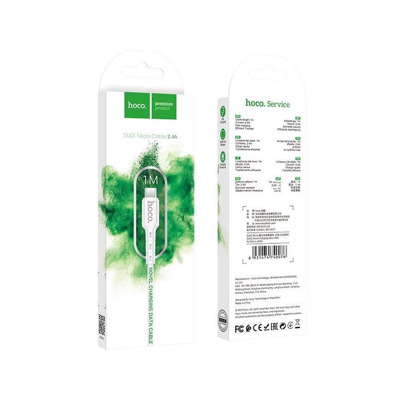 Cáp sạc nhanh 2.4A Hoco DU01 Micro dây PVC siêu bền truyền dữ liệu tốc độ cao dài 1M cho Android - Hàng chính hãng