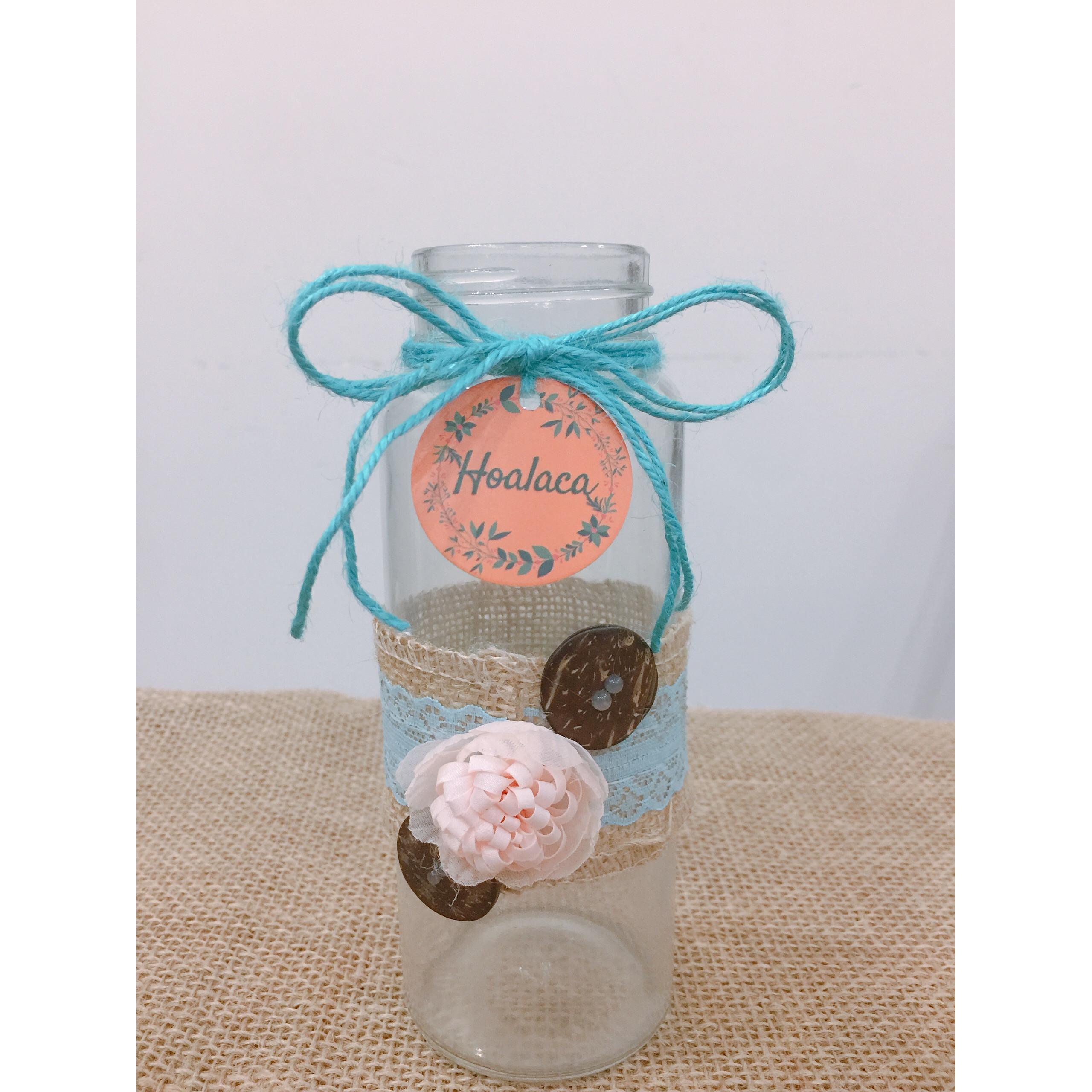 Bình cắm hoa thủy tinh handmade kiểu bình nút hoa (xanh/vàng/hồng)