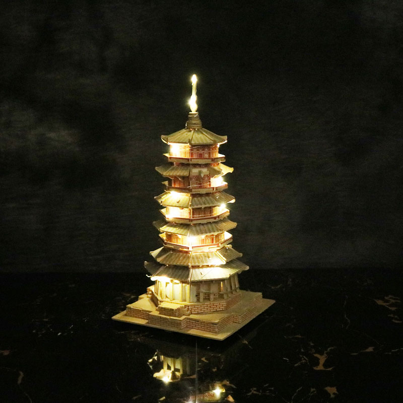 Đồ chơi lắp ráp gỗ 3D Mô hình Tháp Bảy Tầng - Tặng kèm Đèn LED trang trí
