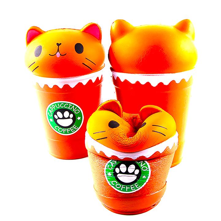 Squishy ly cafe mèo Kitty, squishy chậm tăng mùi thơm dịu nhẹ, đồ chơi cho bé trai và bé gái