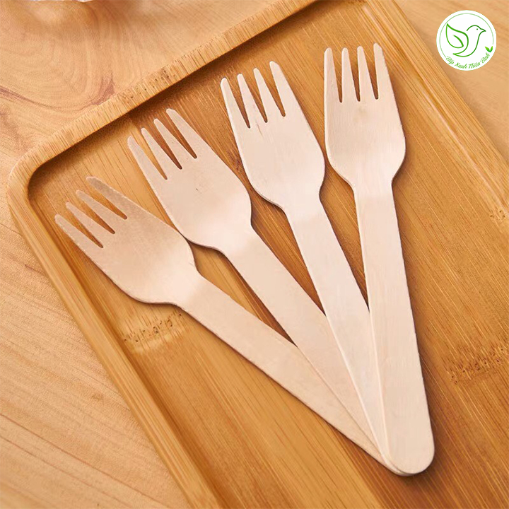 100 Nĩa gỗ dùng một lần kiểu Nhật 16cm an toàn tiệt trùng, bảo vệ môi trường
