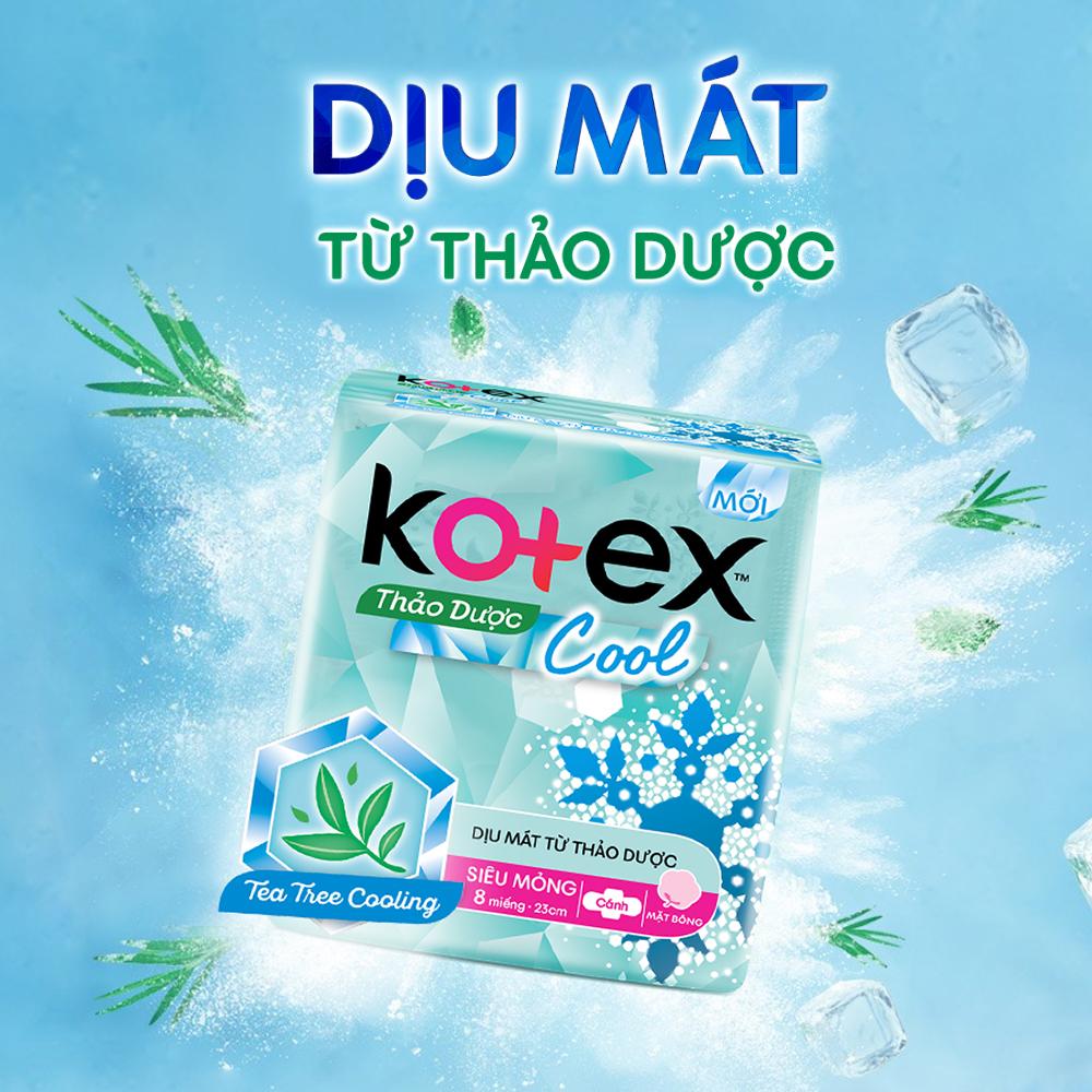 Combo 2 Gói  Băng Vệ Sinh Kotex Thảo dược kháng khuẩn khử mùi SMC cải tiến mới + 2 Gói Thảo dược Cool dịu mát SMC
