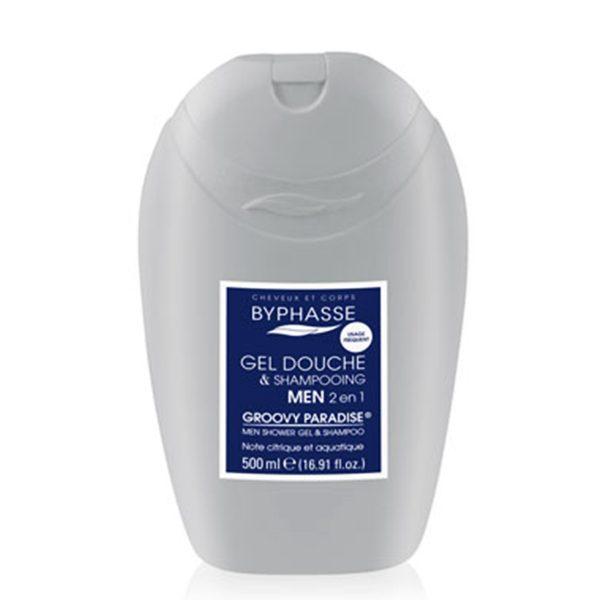 Sữa tắm 2 in 1 cho nam BYPHASSE MEN SHOWER GEL- SHAMPOO  500ML màu xám xanh