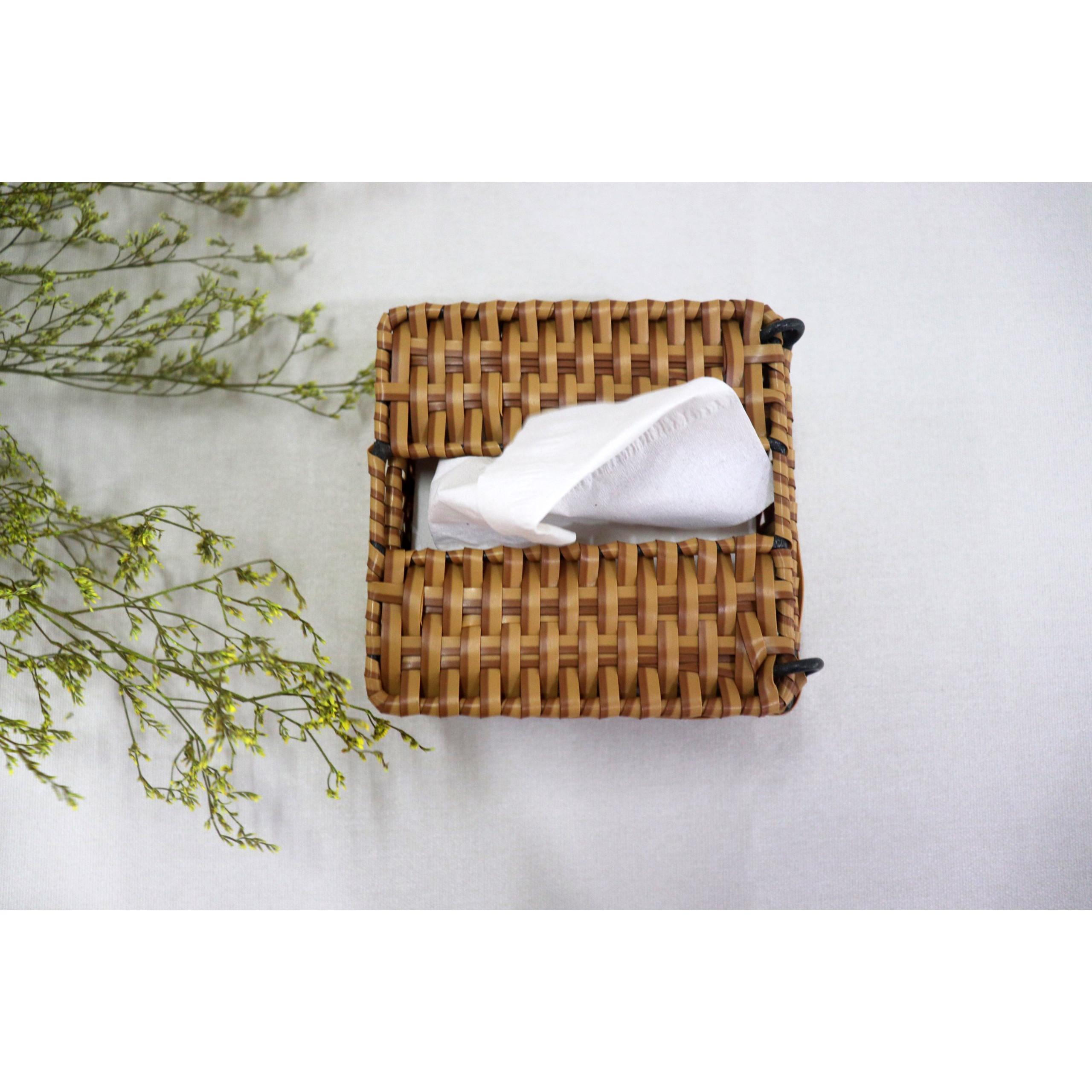 hộp đựng khăn giấy, hộp đựng giấy bằng nhựa giả mây, D13x13cm