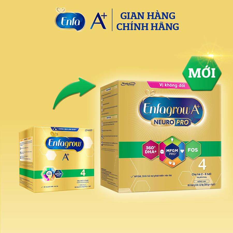 Bộ 3 hộp Sữa bột Enfagrow A+ Neuropro 4 cho trẻ từ 2 – 6 tuổi – 2.2kg (bao bì mới) - Tặng 1 lon Enfagrow A+ Neuropro 4 1.7kg mới